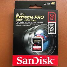 Nuevo SanDisk Extreme Pro 32 GB SDHC UHS-I tarjeta de memoria SD 95MB/s V30 4K +
