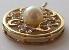 9ct gold diamond and pearl vintage brooch very pretty 3.5g - 22mm w - hallmarked