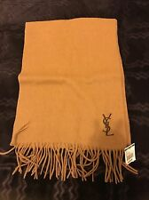 NWT $298 Yves Saint Laurent 100% Wool Scarf Made In Italy Light Camel/coffee
