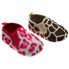 NEW Baby Girls Boys Cute Soft Slippers Pram Shoes Leopard / Giraffe Animal Print