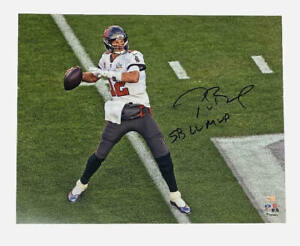 "TOM BRADY Autographed ""SB LV MVP"" Super Bowl Action 16 x 20 Photograph FANATICS"