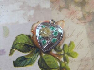 Vintage Sterling silver enameled puffy heart charm-YELLOW ROSE