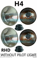 "2x 7"" FLAT LENS CLASSIC CAR NO PILOT HEADLAMPS HEADLIGHTS HALOGEN H4 CONVERSION"