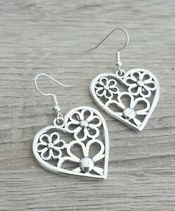 Silver Heart Earrings Large Tibetan Hearts Dangly Statement Love Romantic Gift