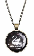 """Once Upon A Time SWAN Glass Dome PENDANT on 20"""" Chain"""