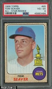 1968 Topps #45 Tom Seaver Mets HOF All-Star Rookie PSA 4 VG-EX