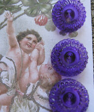 """Set of 4~Vintage Exquisite 3/4"""" Purple Crystal Glass Buttons~New/old stock"""