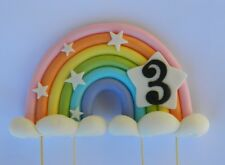3D edible RAINBOW PASTEL 15cm cake topper decoration BIRTHDAY PERSONALISED AGE