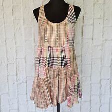 Multicolored Checkered H&M Sleeveless Pastel Trapeze Cotton Dress Size US 12