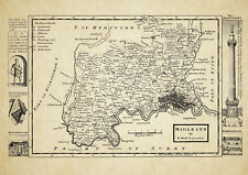 Middlesex County Map by Herman Moll 1724 - Reproduction
