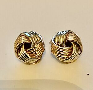 9ct Multi-Colour Gold Knot Clip on Earrings