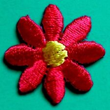"IRON ON PATCH APPLIQUE - DAISY 3/4"" red/yellow"