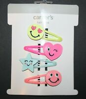 New Carter's 4 Pack Hair Clips Hair Accessory NWT Happy Faces Snap Barrette