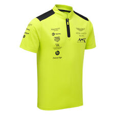 Sale! Aston Martin Racing Team Mens Polo Shirt in Lime Green with Zip Collar