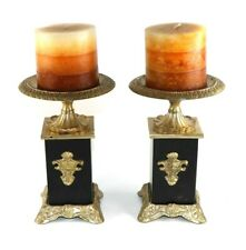 Pedestal Brass Metal Candle Holders and Set of Two - India