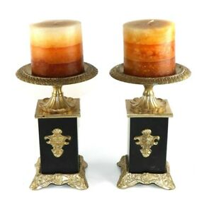 """Pedestal Brass Metal Candle Holders and Set of Two - India 7.5"""" x 4.5"""""""