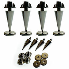 4x Premium Chrome Speaker Spikes –Cabinet Base Support Stand–Noise Isolation Kit