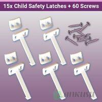 15x Child Safety Catch Child Proof Cupboard Door Drawer Lock Latch + Screws