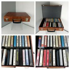 Vintage 1970s 28 Cassettes Tapes - Cassette Box Carry Case Holder Handle RETRO