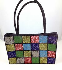 Crystal Beaded New Black Red Blue Green Squares Handbag Purse