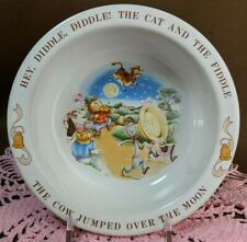 Vintage 1984 Avon Baby Bowl Hey Diddle Diddle.Cat Fiddle Cow Moon Nursery Rhyme