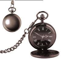 Pocket Watch Chain Mens Antique Style Quartz Gift Stainless Steel Matte Black