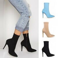 UK Womens High Heel Ankle Boots Pointed Toe Sock Stretch Booties Stilettos Shoes