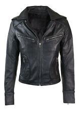 New Women Ladies Leather Biker Motorbike Short Slim Fit Designer Jacket