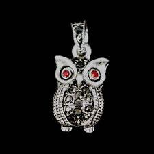 5 x Rhinestone Owl Ruby Charms Antique Silver Alloy Pendants CH40
