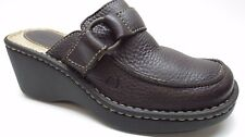 Women's Born Brown Leather Wedge Slide Loafers Pumps Heels 6M 6 36.5