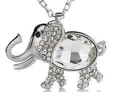 Damen Elefanten Zirkonia Anhänger+Halskette Silber Ketten Halsreif Kristall