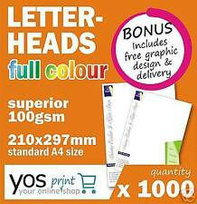 1000 A4 LETTERHEADS Full Colour Printing **FREE POST**