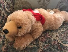 """New Dan Dee 17"""" Plush Tan Grizzly Bear Black Long Claws Red Velvet Bow NWOT #F5"""