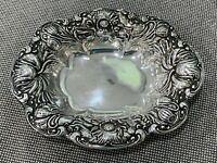 Antique R Wallace Sons Sterling Silver Repousse Oval Bowl Dish Floral Decoration