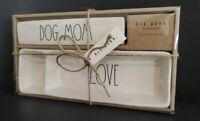 NIB Rae Dunn By Magenta Ceramic DOG MOM & LOVE Desk Plaque & Tray Trinket Set