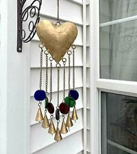 Heart & Bells with Stained Glass Beads Wind Chime Sun Catcher Mobile