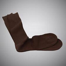Justwhiteshirts Burnt Brown Fine-rib Mid-calf Mercerized Cotton Socks Sizes 8-13