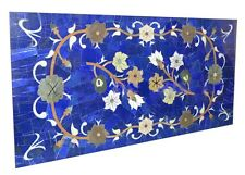 4'x2' Blue Marble Dining End Table Top Lapis Lazuli Inlay Furniture Decor H2040