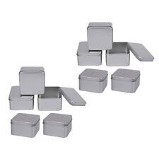 10Pcs Tiny Square Tin Boxes Metal Storage Case Jewellery Keys Coin Gift Box