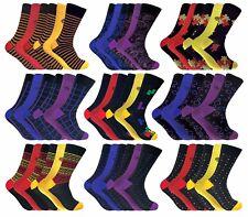 6 Pairs Mens Multi Coloured Antibacterial Anti Odour Bamboo Dress Socks 7-11 Uk