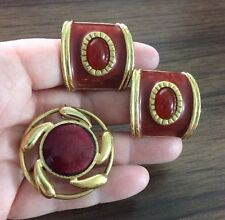 Vintage Red Clip Earrings & Pendant/Brooch Maroon Red Gold Tone AVON