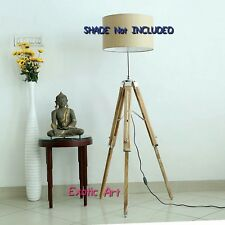 Wooden Tripod Standard Floor Lamp Stand Natural Finish SHADE NOT INCLUDED