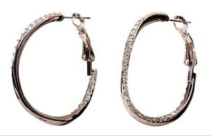 Crystals From Swarovski Twisted Hoop Earrings Rhodium Plated Authentic 7971w