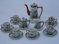 Vintage Handpainted Japanese Tea Set Teapot Six Cups Saucers Milk Jug Sugar Bowl