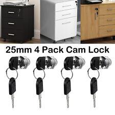 4pack 25mm Cylinder Cam Key Locks Tool With 8 Keys Box File Cabinet Desk Drawer