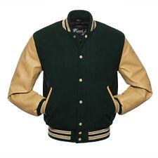 Genuine (Dark Green&Golden) Varsity Jacket in Wool body &Leather Sleeves.