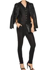 £250 ZOE KARSSEN Women's Black Metallic Sleeveless Tulle Jumpsuit Size M