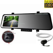 Dual Dash Car Camera 1080 Rear View Mirror Reversing Security System Video Crash
