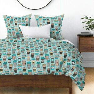 Coffee Cups To Go Latte Cafe Food Kitchen Tea Cup Sateen Duvet Cover by Roostery