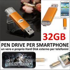 FLASH PEN DRIVE CHIAVETTA USB Micro USB 32Gb PER SAMSUNG HUAWEI LG HTC WIKO
